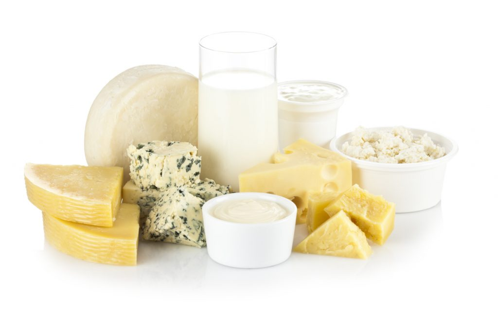 """""""Dairy Products on White Background. Includes: Milk, Ricotta, Various Types of Cheese and Yogurt.."""""""