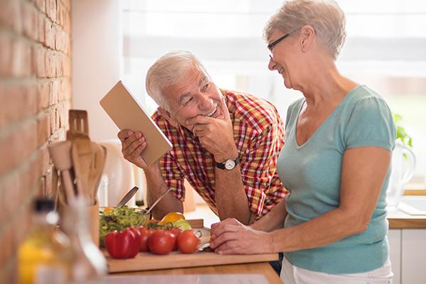 elderly people cooking