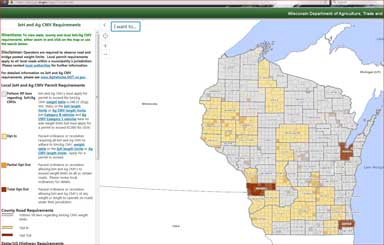 An image of state of Wisconsin showing road options for IoH and Ag CMVs opearting on highways.