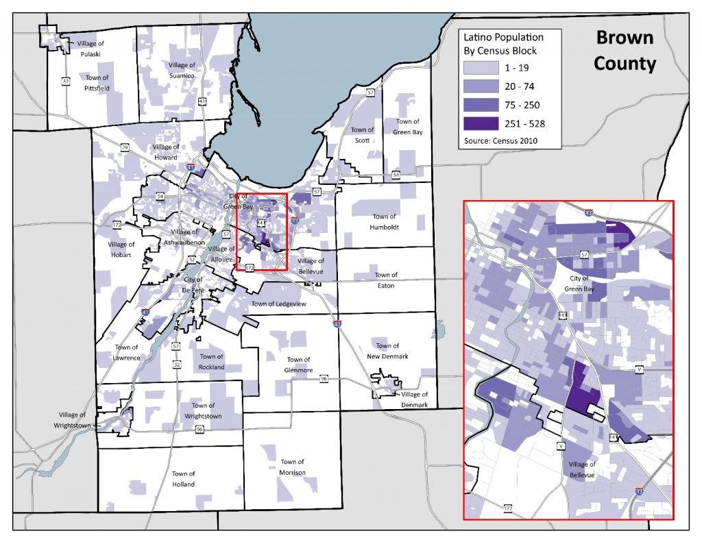 Latino Population by Census Block, Brown County: 2010