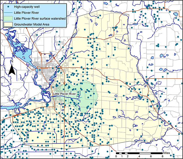 Little Plover River Model Area Map