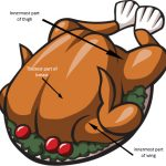 Places to check the temperature on a roasted turkey.