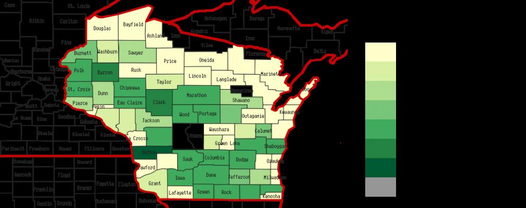 Heatmap of turkey operations in Wisconsin.