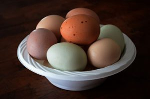 white bowl filled with different colored eggs on a wooden counter