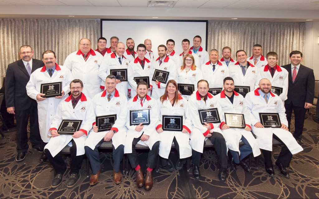 Master Meat Crafter Graduation Ceremony , 2016 ---  Graduates:   Donald Aldrich – Ski's Meat Market  Timothy Brueggen – Falls Meat Service  Jacob Collins – Country Pride Meats  Jonathon Collins – Country Pride Meats Shaun Edwards – Jones Dairy Farm  Justin Fugate – Sailer's Food Market & Meat Processing Kelly Gall Washa – Grand Champion Meats  Robert Gokey – Karl's Sausage Kitchen  Thomas Grantner – Land O'Frost James Hansen – Jones Dairy Farm  Randy Hurst – Leroy Meats of Horicon  Nathan Inboden – Inboden's Meat Market Michael Jansen – Johnsonville Sausage, LLC  Desmond Johnston – SAIT Polytechnic  Matthew King – Main Street Meat Company Vance Lautsbaugh – Crescent Meats & Catering Eric Muench – Louie's Finer Meats, Inc.  Patrick O'Connell – Peer Foods Group, Inc.  Joseph Parajecki – Kettle Range Meat Company Dean Rindahl – Fox Bros. Piggly Wiggly  Robert Sindermann – Tyson Foods  Ashley Sutterfield – Tyson Foods  David Sutton – Newhall Locker & Processing  Joshua Swart – Usinger's Famous Sausage  Henry Vieluf – Cibao Meat Products, Inc.    ------  Welcome and Introductions  Dr. Jeff Sindelar  - UW-Madison  Jeff Swenson -  DATCP  Featured Speakers: Dr. Kate Vandenbosch—CALS Dean & Director Ben Brancel—Wisconsin Secretary of Agriculture Dan Schaefer—Chair of Department of Animal Sciences