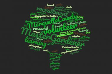 MasterGardener word cloud in tree shape