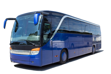 blue coach bus on white background