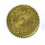 an image of a circular embossed gold sticker, similar to what might appear on a paper certificate