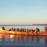 Sunset voyageur canoe
