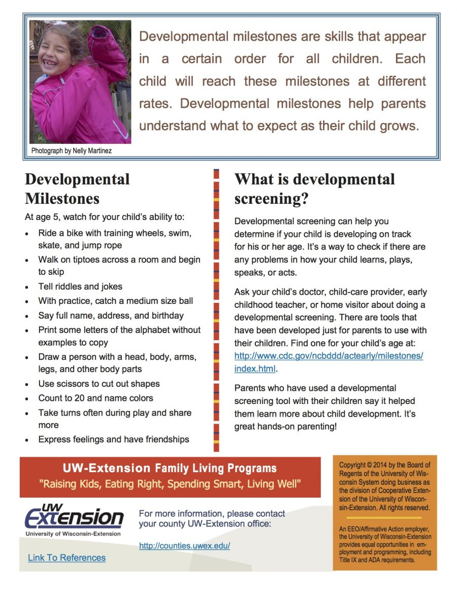 personal developmental milestone Developmental milestones: age 5 not rigid developmental deadlines children move through these changes at varying rates, some sooner, others later.