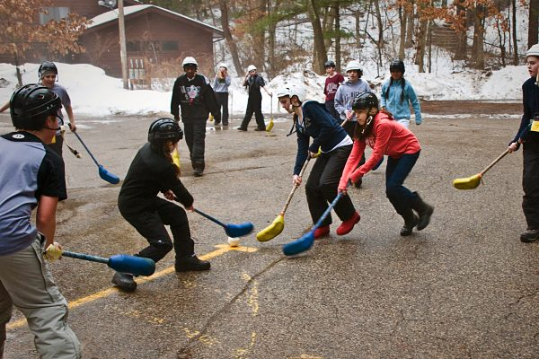Children playing broomball