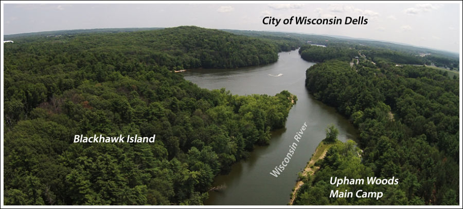 Aerial view of Upham Woods and Wisconsin River