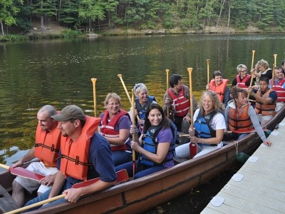 Adult group in voyager canoe