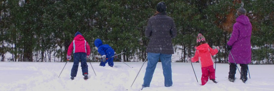 Family cross contry skiing