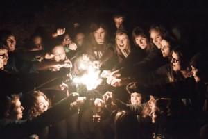 4-H group lighting sparklers