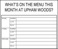 Upham Woods Weekly Menu for Youth Groups