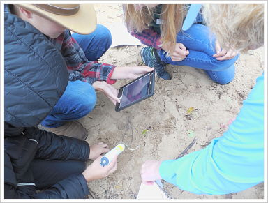 Huddled students use microscope on the sand.
