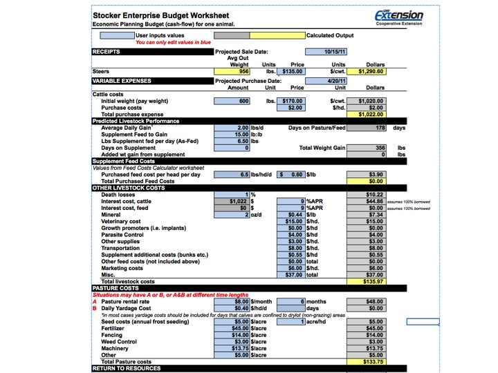 New Stocker Enterprise Budget Spreadsheet WI Beef