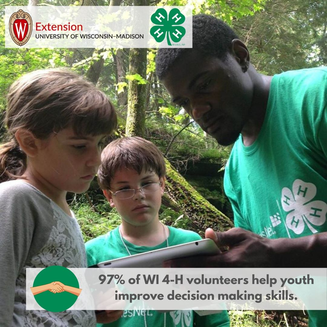 97% of WI 4-H volunteers help youth improve decision making skills.