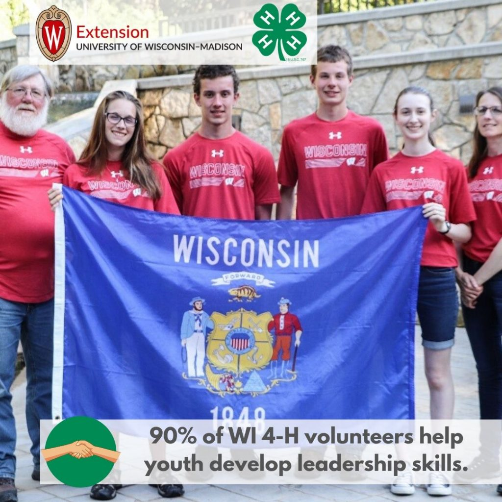 90% of WI 4-H volunteers help youth develop leadership skills.