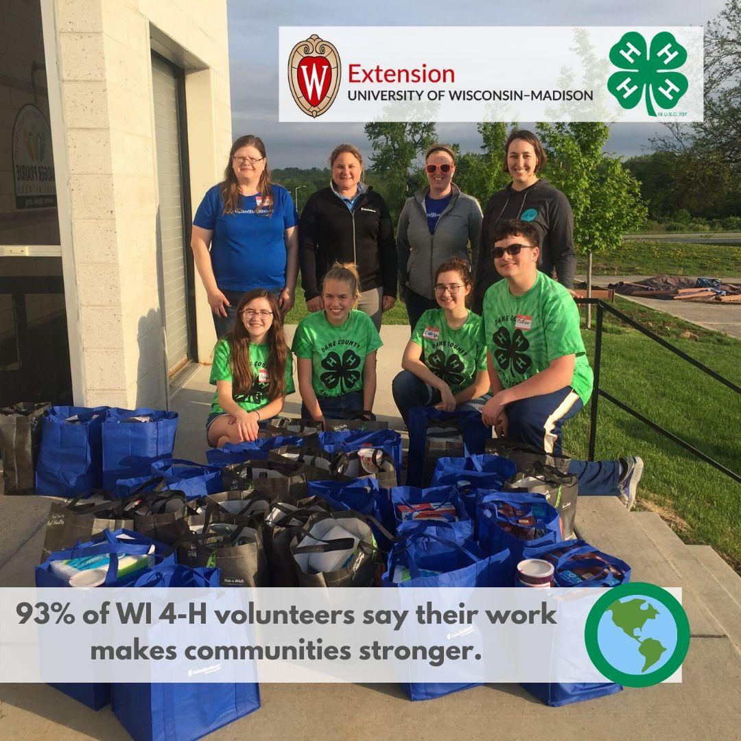 93% of WI 4-H volunteers say their work makes communities stronger.