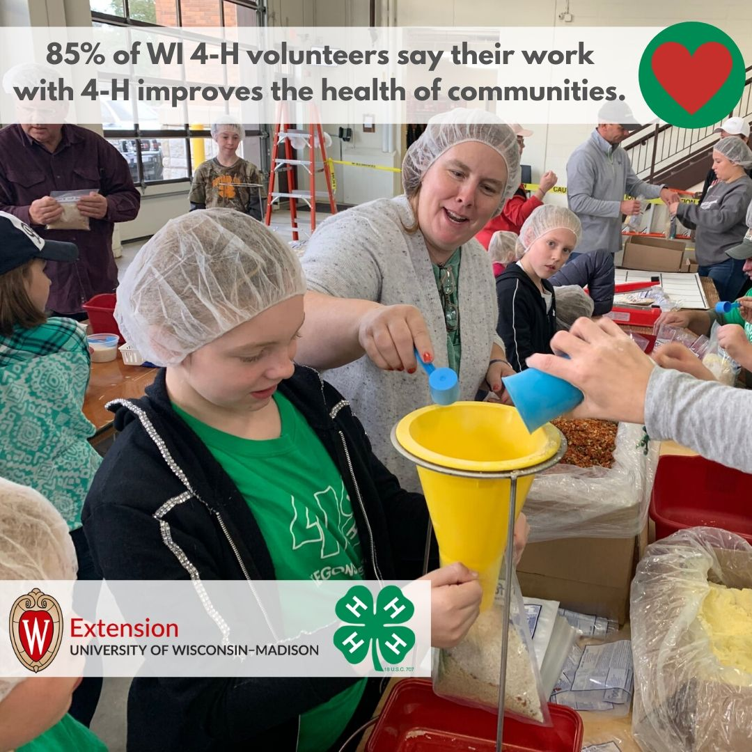 85% of WI 4-H volunteers say their work with 4-H improves the health of communities.